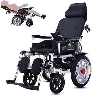 Alqn Sillas de ruedas eléctricas, sillas de ruedas eléctricas motorizadas, respaldo y pedal ajustables, batería de litio de 20 Ah incluida, silla de ruedas eléctrica de doble motor,Negro