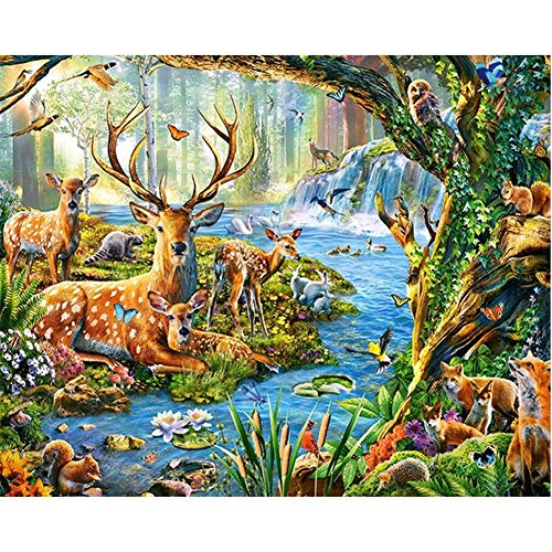 5D Diamond Painting by Number Kits 3D Full Drill DIY B28824 Animal Forest Round Drill,25x30cm Embroidery Cross Stitch Handmade Crystal Set Diamond Arts Craft for Home Living Room Wall Decor Gift