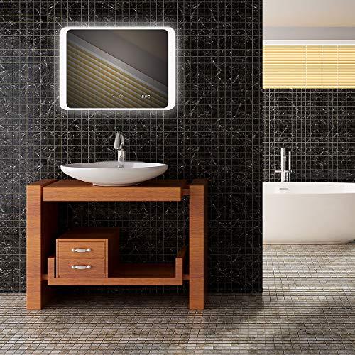 Mextronic badkamerspiegel met verlichting LED lichtspiegel Premium SPGS025A 70x50cm Touch + digitale klokverwarming 34,4W met TÜV Reihland LED-spiegel wandspiegel