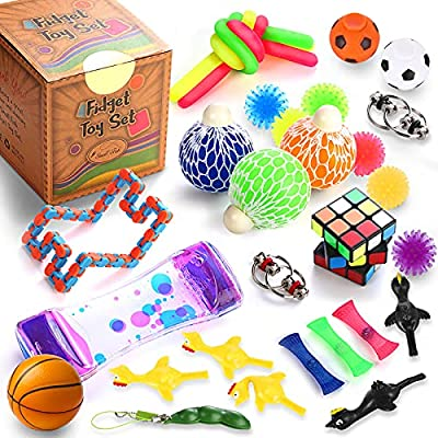 Sensory Fidget Toys Set, 22 Pcs., Stress Relief and Anti-Anxiety Tools Bundle for Kids and Adults, Marble and Mesh, Pack of Squeeze Balls, Soybean Squeeze, Flippy Chain, Liquid Motion Timer & More from Yiwu City Tuoyi Toys CO., Ltd.