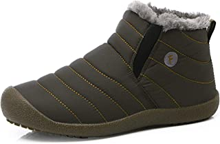 Snow Boots, Women Men Fur Lined Waterproof Winter Outdoor Slippers Slip On Ankle Snow Booties Sneakers