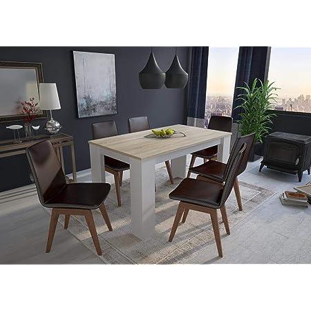 Skraut Home - Table de salle à manger et séjour, 140 cm rectangulaire, chêne clair et blanc, mesures : 80 L x 138 Longueur 75 cm Hauteur jusqu'à 6 personnes