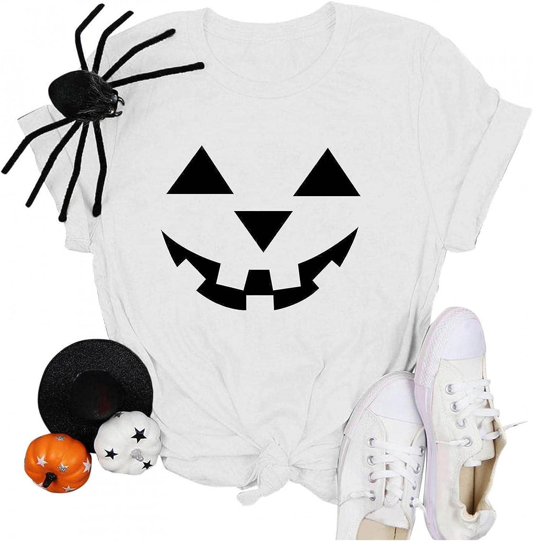 AODONG Halloween Shirts for Women, Womens Halloween Printed Shirts Summer Casual Top Shirt Short Sleeve Tee Tops Blouse