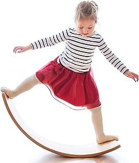 Tabla de equilibrio de madera oscilante, suave Monster 35 pulgadas, tabla de balancín de madera natural, juguete de aprendizaje de extremo abierto para niños, tabla de curvas de yoga para aula y oficina adulto