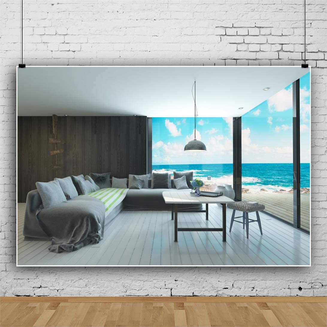 CSFOTO 12x8ft Sea View Room Backdrop Beach Ocean Blue Sky Sofa French Windows Living Room Background for Photography Interior Decor Banner Adults Children Photo Backdrop