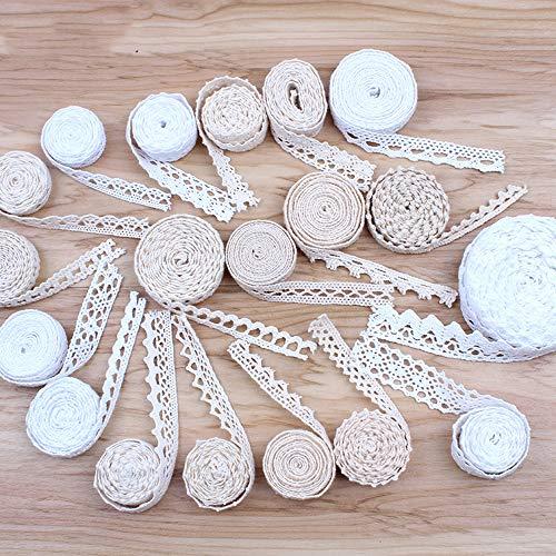 HL-PYL 30Yards Mix Wei?beige Baumwollspitzenborte DIY N?Hen Patchwork Handgefertigtes Baumwollmaterial Hometexiles Sofa Wickelband Trimmen, mischen Wei?beige