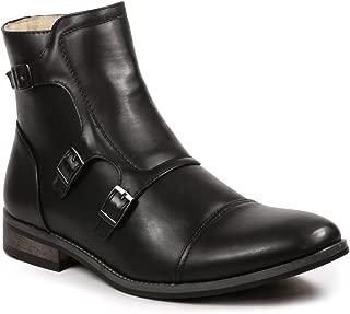 UV811 Men's Cap Toe Triple Monk Strap Formal Dress Casual Ankle Boots (9 D(M) US, Black)
