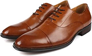 [Flova] ビジネスシューズ メンズ 本革 レースアップシューズ ストレートチップ 紳士靴 フォーマル ブラウン/24-28cm