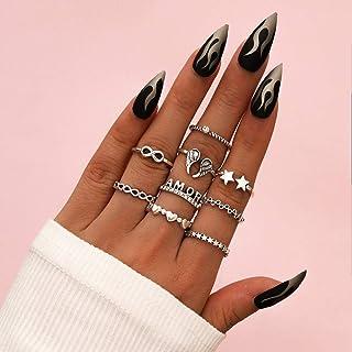 خاتم من الفضة الاسترليني 9 قطع الحب القلب المفاصل خواتم للنساء نجوم مفتوحة إصبع أجنحة المفصل خاتم مجموعة حرف خاتم للبنات