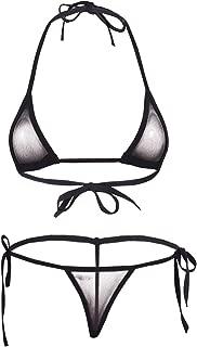 Women Micro G-String Bikini 2 Piece Sliding Top Thong Small Bra