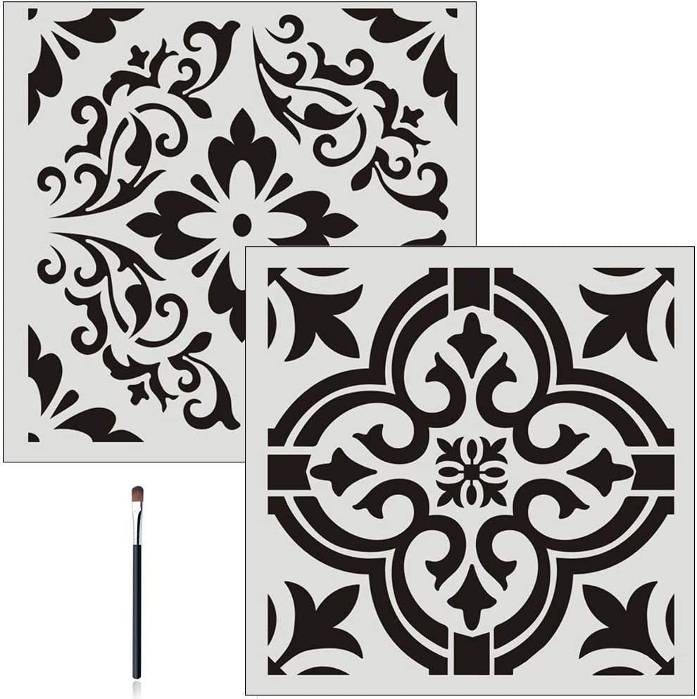 2PC FOUR-C Floral Painting Stencils for Floor Wall Tile Fabric Furniture Wood Burning Art & Craft Supplies Mandala Template-Reusable (2PC, A3+A4)
