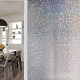 Película de Ventana de decoración de privacidad Adhesivo de Vidrio de Vinilo Esmerilado electrostático de PVC de Mosaico 3D película de Puerta y Ventana de casa O 60x200cm