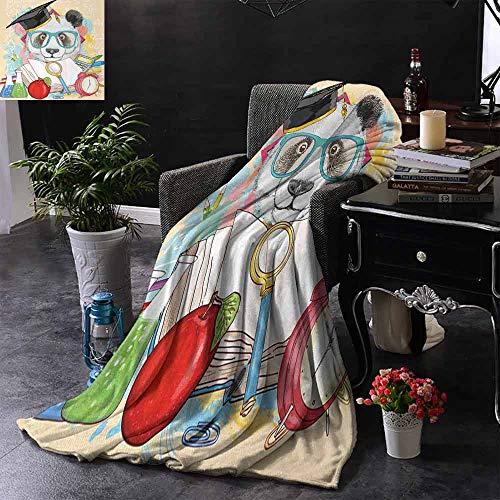 GGACEN Reisdeken Sier Zeepaardje Creature met Bloemen en Streep Lijnen Kitsch Stijl Leuke Afbeelding Zachte Zomer Koeling Lichtgewicht Bed Deken