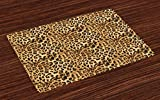 Ambesonne Brown Place Mats Set of 4, Leopard Print Animal Skin Digital Printed Wild Safari Themed Spotted Pattern Art, Washable Fabric Placemats for Dining Room Kitchen Table Decor, Yellow Brown