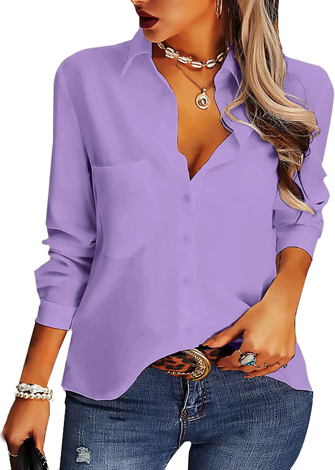 AISEW Womens Casual Button Down Shirts V Neck Chiffon Long Sleeve Collared Office Work Blouses Tops with Pocket