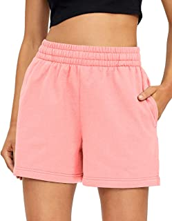 AUTOMET Womens Comfy Yoga Lounge Shorts Summer Casual Drawstring Elastic High Waist Pure Color Shorts with Pockets