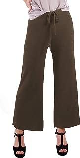 Women's Ribbed Knit Wide Leg Drawstring Waist Tie Crop Culotte Pants