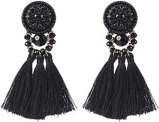 Colorful Beads Thread Ethnic Charms Eardrop Long Tassel Dangle Drop Earrings (Black)