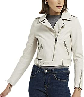 DISSA PP0910 Women Faux Leather Biker Jacket Slim Coat Leather Jacket
