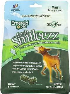 Emerald Pet - Dog Treats, Dental Chews for Bad Dog Breath, Dental Dog Treat, Small Dog Chew Treat, All-Natural Dog Chews, Cleans Teeth, Freshens Breath, Grain-Free (Mini Sticks)