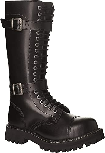 STEEL botas Militares Botines Unisex Hombre muñer Cuero negro 20 Ojetes Doble Hebilla Army Punk Punta de Acero