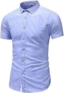 Stoota Men's Print Button-Down Collar Slim Fit Short Sleeve Shirt Top Blouse
