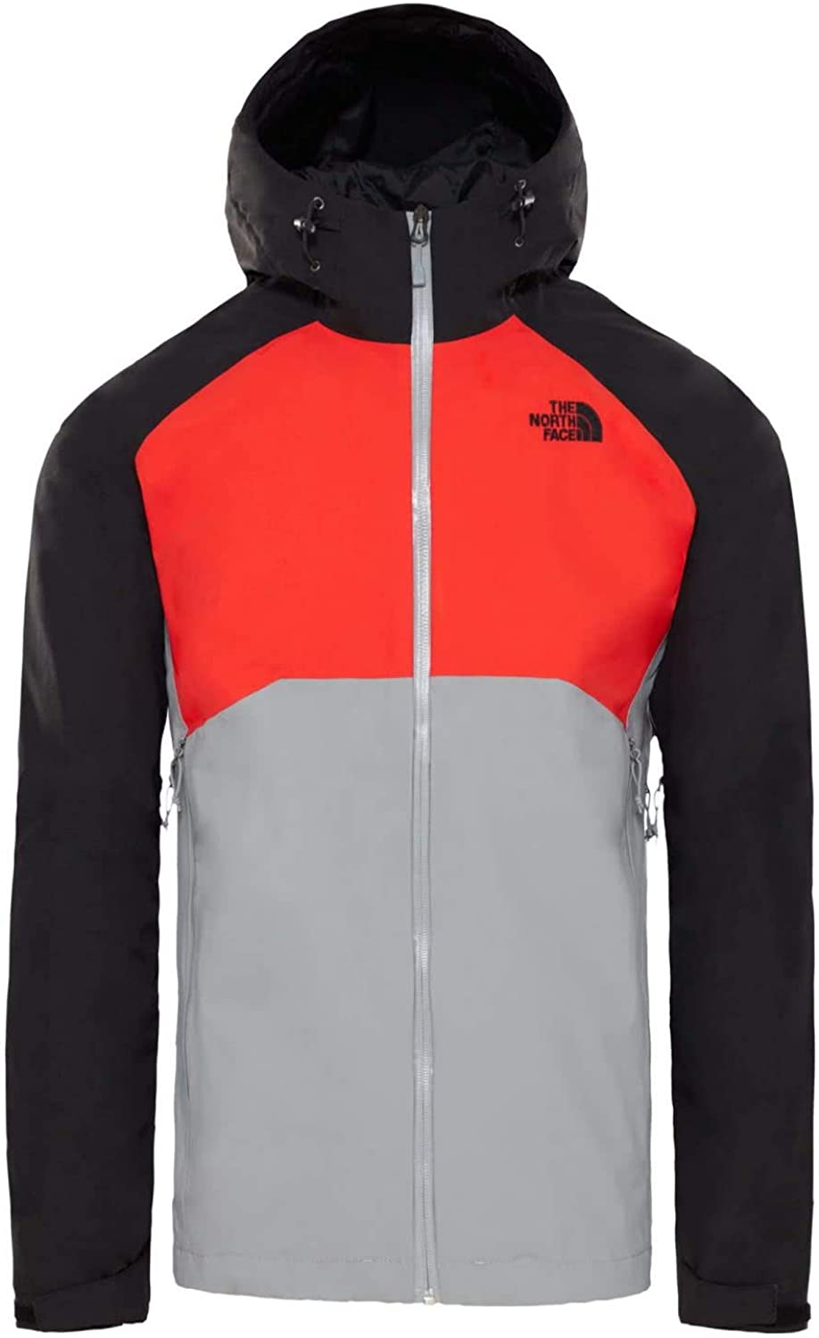 North Face Stratos Jacket Small Mid Grey Fiery Red TNF Black