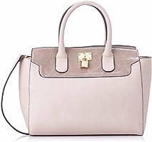 Club Aldo Front Metal Lock Top Handle Handbag with Adjustable Shoulder Strap for Women