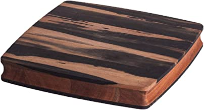 Stella Falone Reversible Cutting Board Made of Solid West African Crelicam Ebony Wood – 11.4'' x 11.4'' x 1.6'', Heavy-Duty, Premium Serving Board with Carved Grip Edge – Includes Conditioning Oil