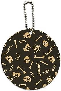 Skeleton Skull Bones Rib Cage and Femur Round Wood Luggage ID Tag