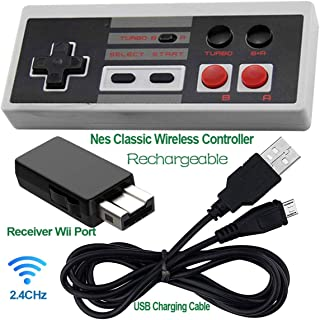 Rechargeable NES Classic Mini Controller -TURBO EDITION-Rapid Buttons for Nes Gaming System with 2.4G Wireless Receiver