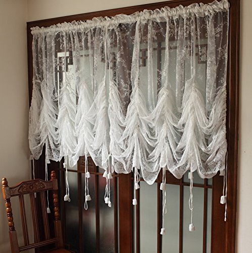 Bounce Power Elegant White Lace Embroidered Sheer Ballon Curtains Adjustable Tie-Up Curtain Shades 1 Panel Floral Tulle Curtains (59'' Wide x 79'' Len)