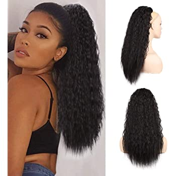 AISI BEAUTY Long Curly Drawstring Ponytails Extension for Black Women 22 inch Kinky Straight Ponytail Hair Piece Clip on Wavy Ponytail(2#)