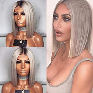 Short Lace Front Wig, Dark Grey Bob Wig Human Hair Straight Bob Medium Size Cap Short Colored Bob Lace Wigs Bleached Knots