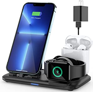 OLEBR 3 in 1 Bedside Charging Station for Apple Multiple Devices, Charger Stand for iPhone Apple Watch 6/Se/5/4/3/2/1 and AirPods Charging Dock for AirPods Pro/2/1 (with 18w Fast Adapter)