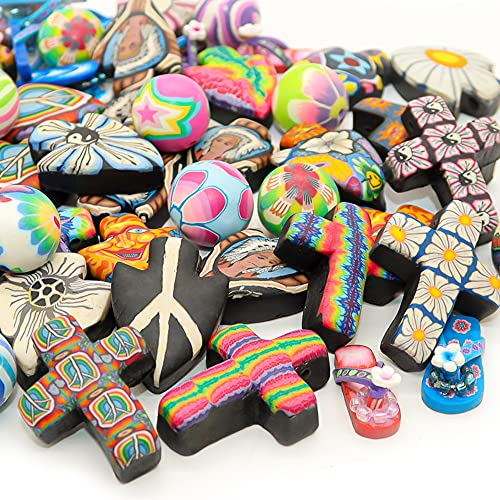 Assorted Polymer Clay Disc Pendants for Jewelry Making