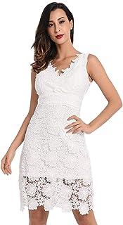 20ab89edaf8 Lomantise Lace-Dress for Wedding-Guest Deep V Neck Bodycon Midi Dress