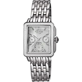 GV2 by Gevril Bari Multi Womens Diamond Chronograph Swiss Quartz Rectangle With Additional Black Leather Strap Stainless Steel Bracelet Watch, (Model: 9210)