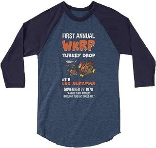 First Annual WKRP Turkey Drop Raglan Shirt - Thanksgiving Shirt - Funny Turkey Shirt - Unisex 3/4 Raglan Shirt