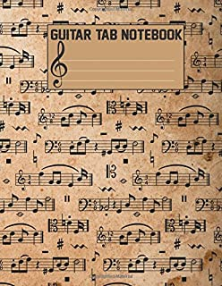 Guitar Tab Notebook: Blank Sheet Music For Guitar (Large Print) 108 Pages With Chord Boxes, Staff, TAB and Lyric - Music M...