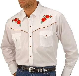 ELY CATTLEMAN Men's Embroidered Rose Design Western Shirt