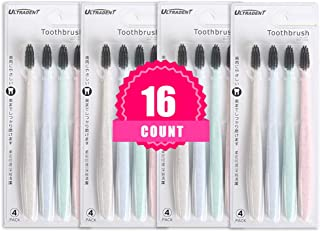 16 Counts Manual Toothbrush, Ultradent Biodegradable Eco-Friendly Natural Charcoal Soft Toothbrush - 4 Color Soft Bristle Compact Head Whitening Clean Toothbrushes for Adults, Protect Gums