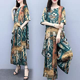 Alician Women Lady Wide Leg Pants + Top Fashion Casual Ethnic Style Spring and Summer Two-Piece Set