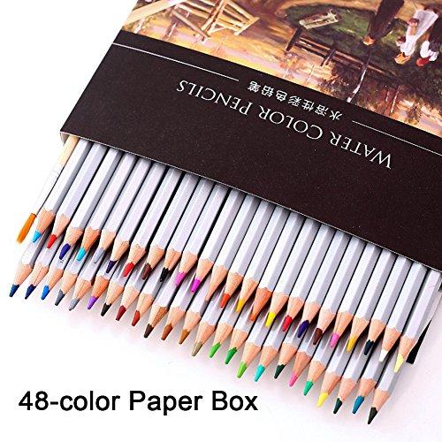 Zebroau Aquarellstifte, Nass- und Trockenmischeffekte, wasserlösliche Buntstifte für Malbücher für Erwachsene und Schulbedarf für Kinder (48 Farben)