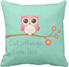 Kris.D Throw Pillow Cover Cute Flowers Owl Siempre te Amo Pink on Branch Funda de Almohada Decorativa Decoración para el hogar Square 18 x 18 Inch Pillowcase