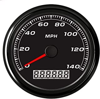 Auto Motorcycle 85mm GPS Speedometer 0-140MPH Odometer Mileage Adjustable Overspeed Alarm Gauge for Car Truck Boat