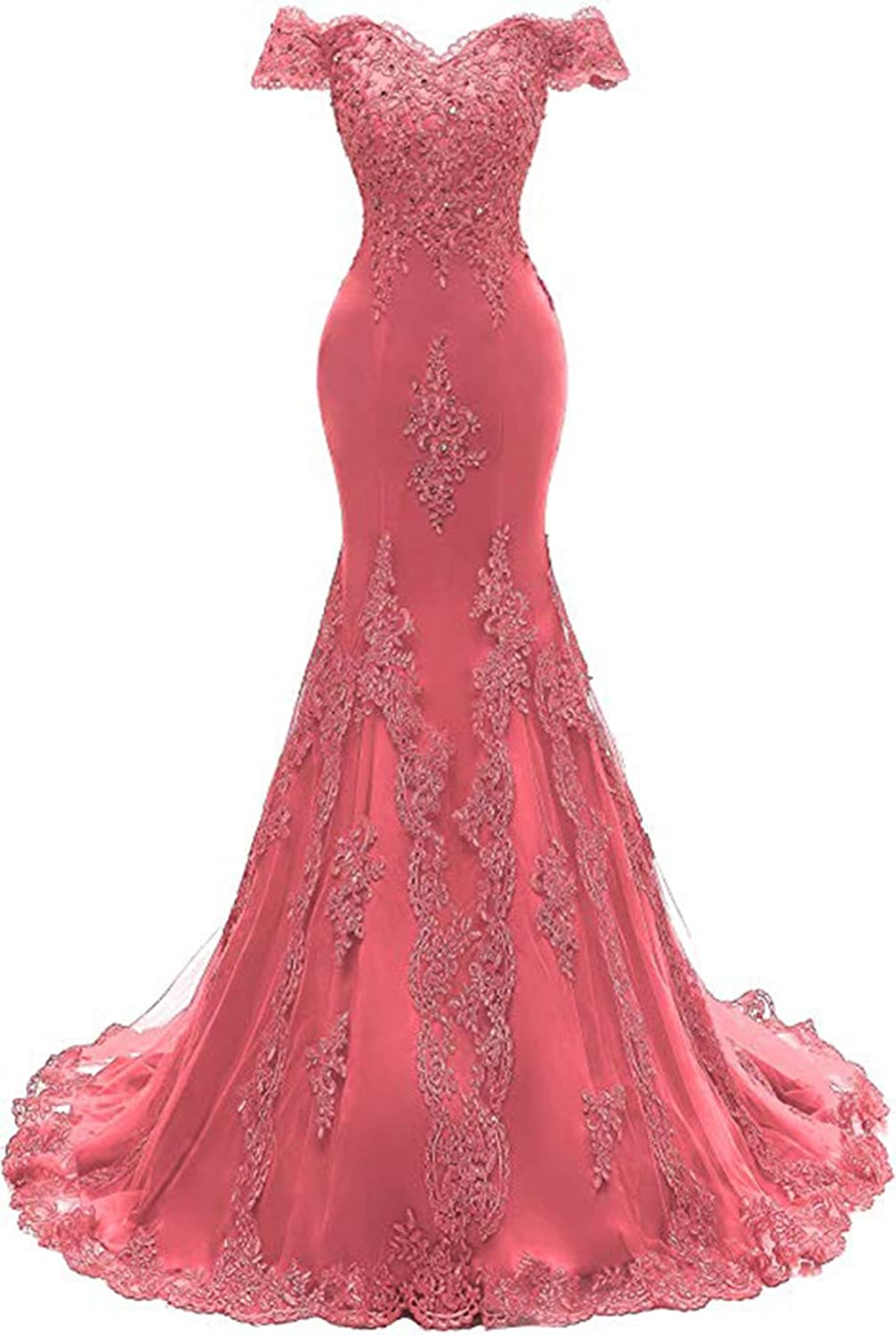 Lily Wedding Womens Off Shoulder Lace Mermaid Prom Wedding Dresses 2018 Long Formal Evening Ball Gowns D115