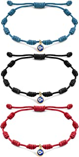 Handmade Evil Eyes Bracelet Adjustable Ojo Turco Kabbalah Red String Amulet Nazar Braclets for Family Bestfriend Women Men Girls 3 Pcs