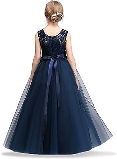 0fff4ca9f3046 HUANQIUE Robe de Princesse Fille Mariage Demoiselle d Honneur Taille Haute  Dentelles 5 Couleurs