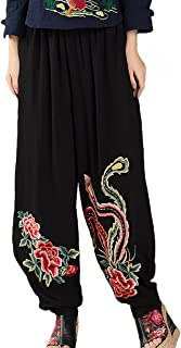 Women's Floral Embroidery Elastic Pleated Cotton Linen Palazzo Pants